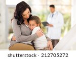 sad young woman and her sick... | Shutterstock . vector #212705272