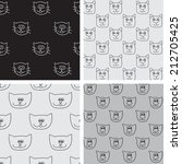 four seamless pattern with cat... | Shutterstock .eps vector #212705425