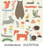 forest animals in vector set.... | Shutterstock .eps vector #212707516