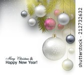 christmas background with balls.... | Shutterstock .eps vector #212732632
