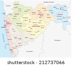 maharashtra administrative map - stock vector