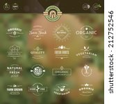 Set of vintage style elements for labels and badges for organic food and drink, on the nature background     | Shutterstock vector #212752546
