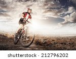 mountain bike cyclist riding... | Shutterstock . vector #212796202