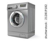 Washing Machine On White...