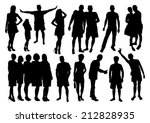 people silhouettes set | Shutterstock .eps vector #212828935