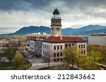 Aerial view to Pioneers museum in Colorado Springs, Colorado - stock photo