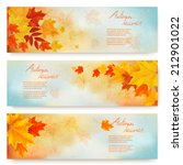 three abstract autumn banners... | Shutterstock .eps vector #212901022