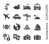 travel and tourism icon set ... | Shutterstock .eps vector #212912392