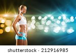 sport woman in shorts and top... | Shutterstock . vector #212916985