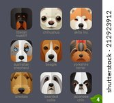 animal faces for app icons dogs ... | Shutterstock .eps vector #212923912