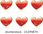 glossy hearts with beautiful...   Shutterstock .eps vector #21294874