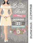 retro bridal shower invitation... | Shutterstock .eps vector #212954968
