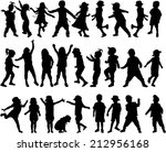 children silhouettes | Shutterstock .eps vector #212956168