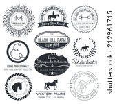 Stock vector equine vintage vector logo perfect horse related business symbols with antique texture premium 212961715
