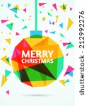 merry christmas greeting card.... | Shutterstock .eps vector #212992276