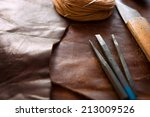 leather craft.  leather and... | Shutterstock . vector #213009526