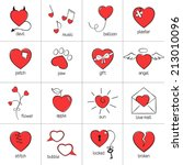 set of hand drawn heart icons... | Shutterstock .eps vector #213010096