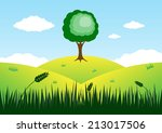 tree on top of mountain vector...