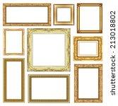 set of vintage golden frame... | Shutterstock . vector #213018802