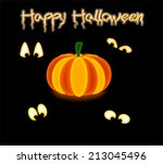 luminous pumpkin with scary... | Shutterstock .eps vector #213045496