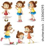 illustration of girls with... | Shutterstock .eps vector #213060295