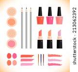 make up vector icons set.... | Shutterstock .eps vector #213062392
