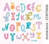 multicolor hand drawn alphabet. ...   Shutterstock .eps vector #213070606