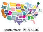 usa map with states | Shutterstock .eps vector #213073036