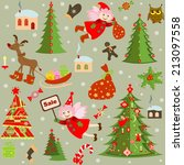 xmas retro wallpaper | Shutterstock .eps vector #213097558