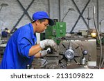 tangshan city   june 20  worker ... | Shutterstock . vector #213109822