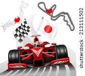 red race car gp suzuka japan | Shutterstock .eps vector #213111502