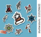 vector set of stickers with... | Shutterstock .eps vector #213158632