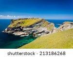 tintagel head and castle... | Shutterstock . vector #213186268