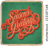 season's greetings hand... | Shutterstock .eps vector #213187168
