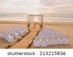 wedding on the beach scene with ... | Shutterstock . vector #213215836