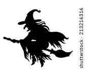 halloween witch. silhouette. | Shutterstock .eps vector #213216316