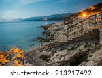 rabac beach at night with full... | Shutterstock . vector #213217492