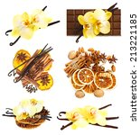 Set Of Vanilla Pods With Orchid ...