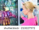 caucasian woman wearing pink... | Shutterstock . vector #213227572