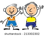 two boys isolated on white... | Shutterstock . vector #213302302