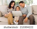 happy family using laptop in... | Shutterstock . vector #213304222