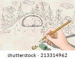 Stock photo woman hand drawing rabbits run to save the bear 213314962