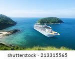 cruise ship in the ocean with... | Shutterstock . vector #213315565