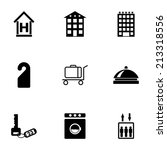 vector black hotel icons set on ... | Shutterstock .eps vector #213318556