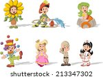 group of cartoon kids wearing... | Shutterstock .eps vector #213347302