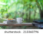 coffee cup  bread book and... | Shutterstock . vector #213360796