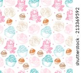 sweet seamless with cupcakes... | Shutterstock .eps vector #213369592