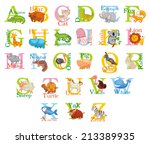 cute animal alphabet. funny... | Shutterstock .eps vector #213389935