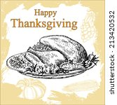 thanksgiving. hand drawing set... | Shutterstock .eps vector #213420532