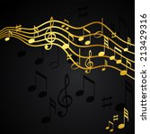 gold music notes on a solide... | Shutterstock .eps vector #213429316